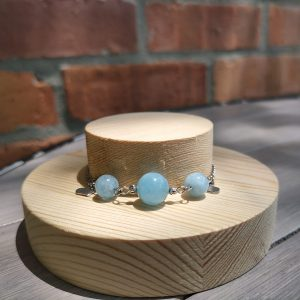 Twelve Constellations Natural Crystal Bracelet Stainless Steel (Pisces) Aquamarine, Amethyst, Citrine