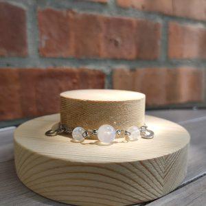 Exclusive Crystal Zodiac Natural Crystal Bracelet Stainless Steel (Cancer) Moonstone, Garnet