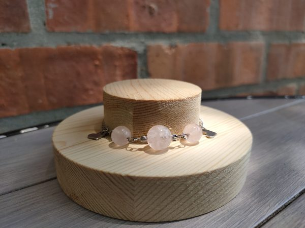 Exclusive Crystal Zodiac Natural Crystal Bracelet Stainless Steel (Virgo) Aquamarine, Strawberry Crystal, Pink Crystal