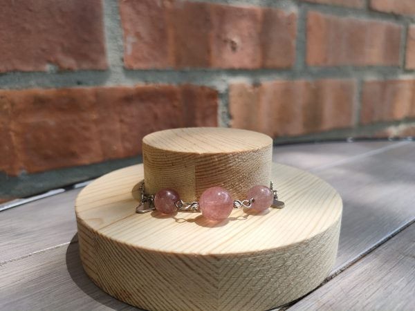 Exclusive Crystal Zodiac Natural Crystal Bracelet Stainless Steel (Taurus) Aquamarine, Strawberry Crystal, Pink Crystal